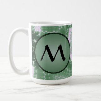 Protozoa - fractal art with monogram on green coffee mug