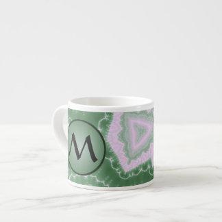 Protozoa - fractal art with monogram on green espresso cup