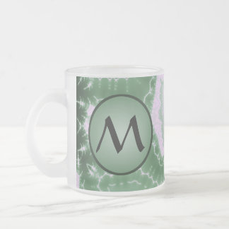 Protozoa - fractal art with monogram on green frosted glass coffee mug