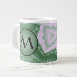 Protozoa - fractal art with monogram on green large coffee mug