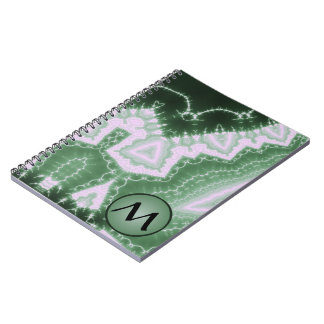 Protozoa - fractal art with monogram on green notebook