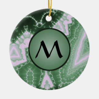 Protozoa - fractal art with monogram on green Double-Sided ceramic round christmas ornament