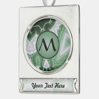 Protozoa - fractal art with monogram on green silver plated banner ornament