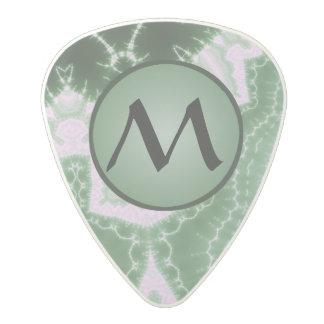Protozoa - fractal art with monogram on green polycarbonate guitar pick
