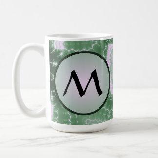 Protozoa - fractal art with monogram on grey coffee mug