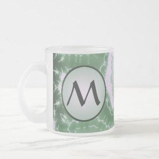 Protozoa - fractal art with monogram on grey frosted glass coffee mug