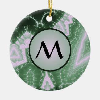 Protozoa - fractal art with monogram on grey Double-Sided ceramic round christmas ornament