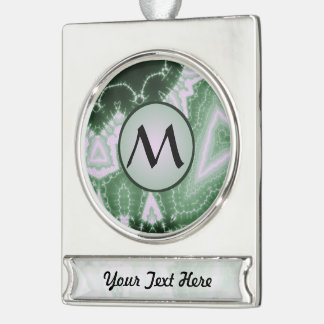 Protozoa - fractal art with monogram on grey silver plated banner ornament