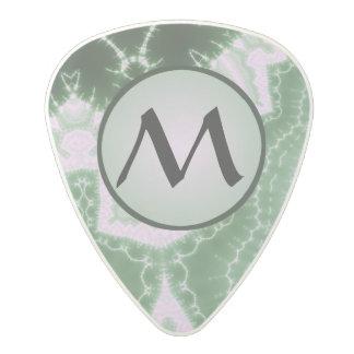 Protozoa - fractal art with monogram on grey polycarbonate guitar pick