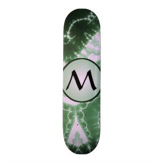Protozoa - fractal art with monogram on grey skateboard