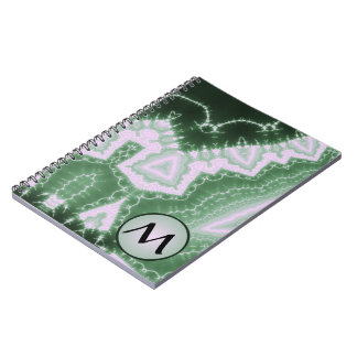 Protozoa - fractal art with monogram on grey spiral notebook