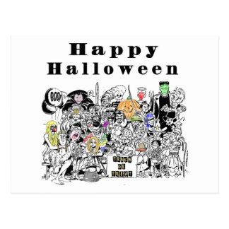 Protrait de la familia de Halloween Tarjetas Postales