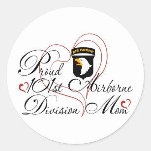 101st airborne division stickers zazzle 101st Chairborne proud 101st airborne mom heart classic round sticker