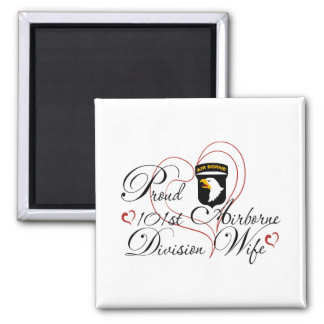 Proud 101st Airborne Wife Heart 2 Inch Square Magnet