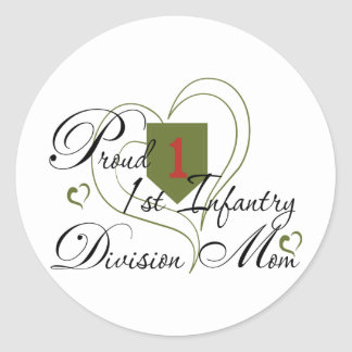 Proud 1st Infantry Wife Heart Classic Round Sticker