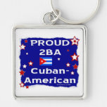 Proud 2BA Cuban-American Silver-Colored Square Keychain