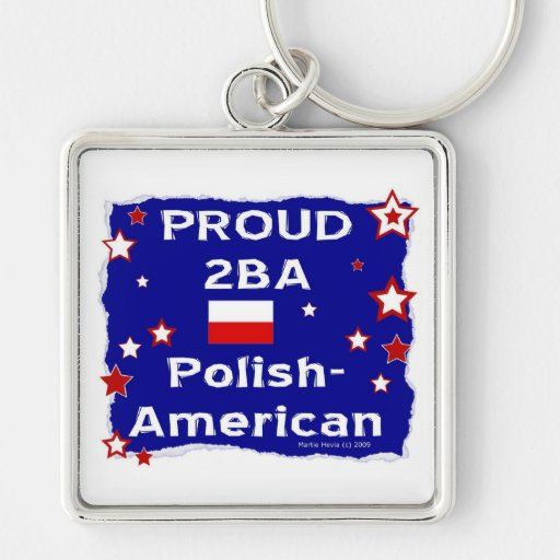 Proud 2BA Polish-American Silver-Colored Square Keychain