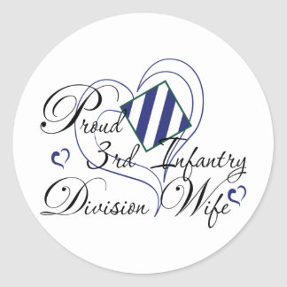 Proud 3rd Infantry Wife Heart Classic Round Sticker