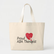 Proud ABA Therapists (Heart) Large Tote Bag