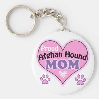 Proud Afghan Hound Mom Basic Round Button Keychain