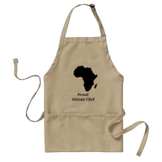 """Proud African Chef"" Africa in Sleek Black Adult Apron"
