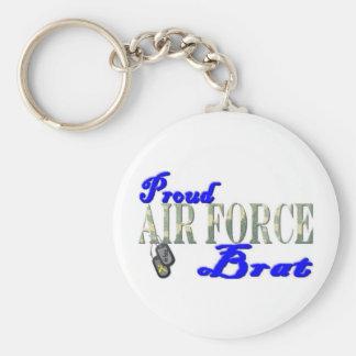 Proud Air Force Brat Basic Round Button Keychain