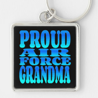 Proud Air Force Grandma Silver-Colored Square Keychain