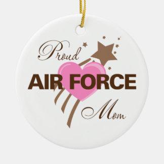 Proud Air Force Mom Heart Ceramic Ornament