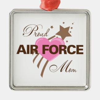 Proud Air Force Mom Heart Metal Ornament