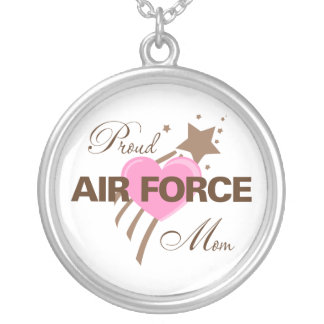 Proud Air Force Mom Heart Round Pendant Necklace