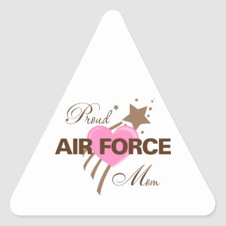 Proud Air Force Mom Heart Triangle Sticker