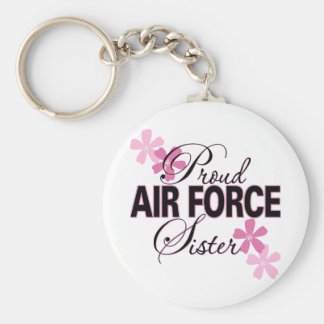 Proud Air Force Sister Basic Round Button Keychain