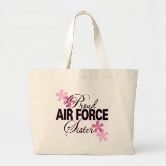 Proud Air Force Sister Large Tote Bag