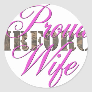 proud air force wife round stickers