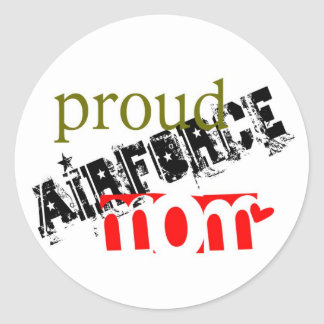 proud airforce mom classic round sticker
