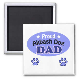Proud Akbash Dog dad 2 Inch Square Magnet