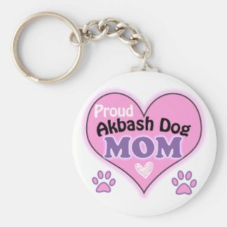 Proud Akbash Dog Mom Basic Round Button Keychain