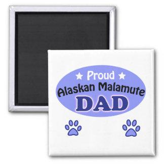 Proud Alaskan Malamute dad 2 Inch Square Magnet