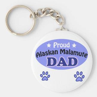 Proud Alaskan Malamute Dad Basic Round Button Keychain