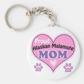 Proud Alaskan Malamute Mom Basic Round Button Keychain