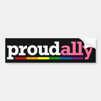 Proud Ally Black Bumper Sticker