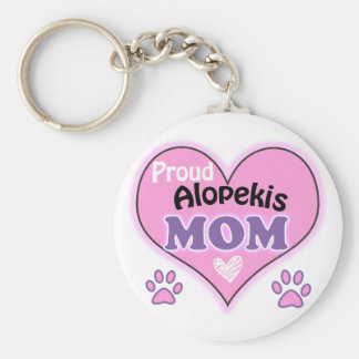 Proud Alopekis Mom Basic Round Button Keychain