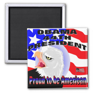 Proud American Barack Obama 2 Inch Square Magnet