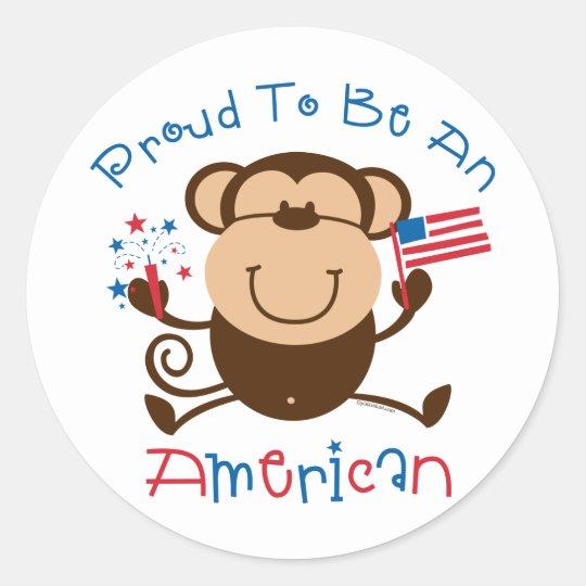 Proud American Boy Monkey Classic Round Sticker