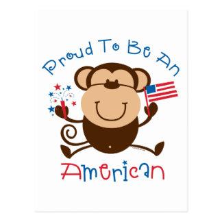 Proud American Boy Monkey Postcard