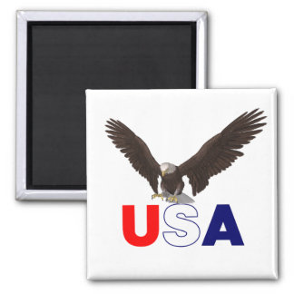 Proud American Eagle 2 Inch Square Magnet