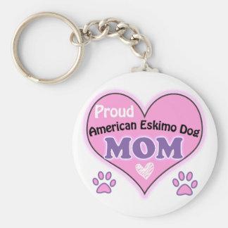Proud American Eskimo Dog Mom Basic Round Button Keychain