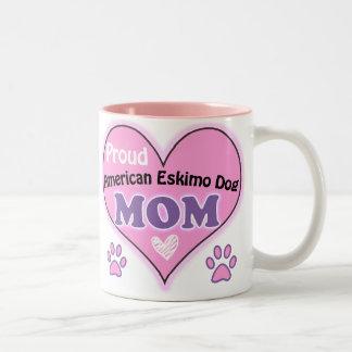 Proud American Eskimo Dog Mom Two-Tone Coffee Mug