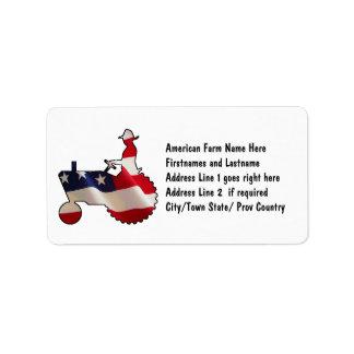 Proud American Farmer  USA Flag Tractor Label