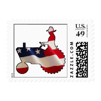 Proud American Farmer  USA Flag Tractor Postage